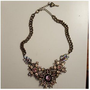 Betsey Johnson pink silver flower necklace nwot